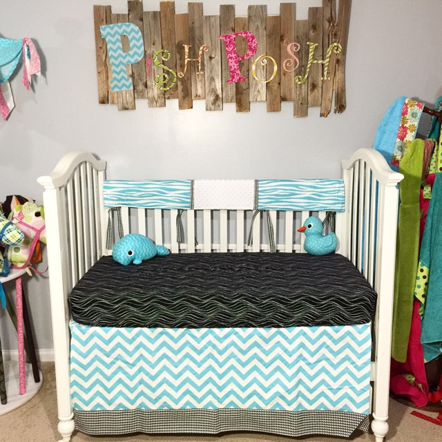 Black And Blue Bumperless Crib Bedding Pish Posh